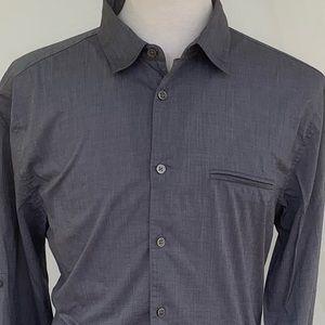 John Varvatos Grey Lightweight Roll Sleeve Shirt